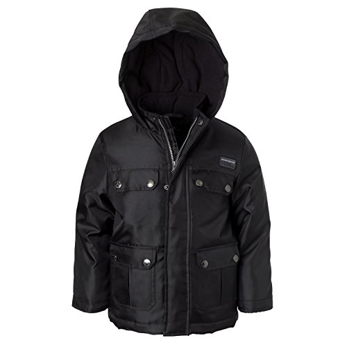 Blk Parka (Ixtreme Outfitters Boys Oxford Parka Jacket - Hooded Coat with Flap Pockets)