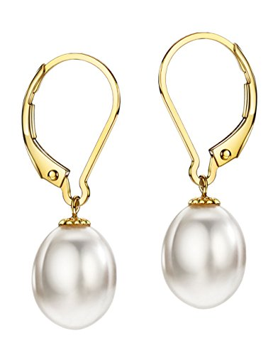 (18K Gold Freshwater Cultured Pearl Drop Dangle Earrings Leverback 8-9mm Pearl Jewelry for)