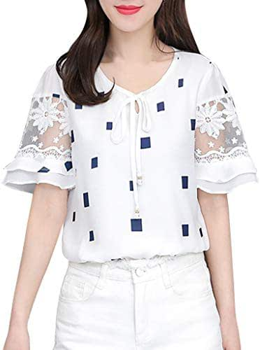 Ximandi Women's Squares Print Summer Lace Short Sleeve O-Neck Tunic Top Blouse Casual Korean Style Tops