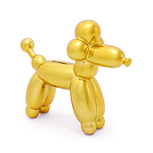 (Made By Humans Balloon French Poodle Money Bank - Unique Animal-Shaped Ceramic Piggy Bank for Newborn Baby, Young Children, Adults, Gold)
