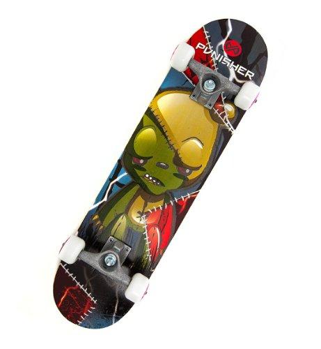 Punisher Skateboards Frankenbear 31-Inch Double Kick Concave Complete Skateboard