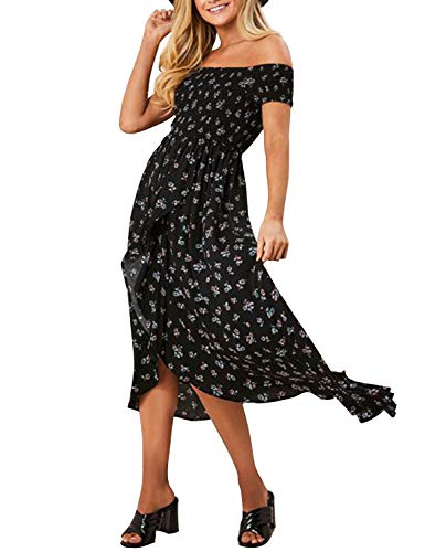 Blooming Jelly Womens Long Maxi Dress Off Shoulder High Slit Asymmetrical Ruffle Floral Summer Dresses (Small, Black) ()