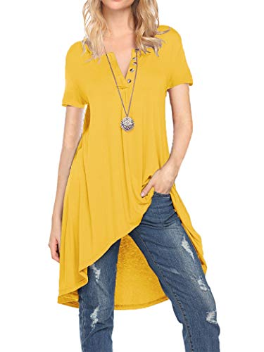 Naggoo Women's Short Sleeve Loose Casual V-Neck High Low Blouses T-Shirt Tops