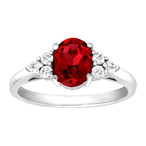 1 7/8 ct Oval-Cut Created Ruby and Natural White Topaz Ring in Sterling Silver Size 9 (Ring Ruby Cut)