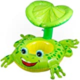 KriTech Inflatable Sitting Rider with Sunshade Frog Swim Pool for Boys and Girls
