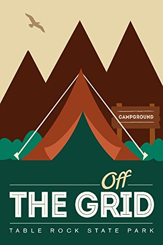 Table Rock State Park, South Carolina - Off The Grid (Tent) (12x18 Signed Print Master Art Print w/Certificate of Authenticity - Wall Decor Travel Poster)