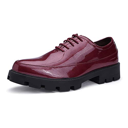 Xujw-shoes, 2018 Scarpe Stringate Basse Business casual da uomo Oxford Fashion Comode scarpe da ginnastica in poliuretano leggero e traspirante in vernice (Color : Blu, Dimensione : 42 EU) Rosso