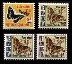(South Vietnam Stamps - 1974, Sc J21-4 Postage Due Stamps, The Butterflies Set Surchaged with New Value and Two Bars in Red, MNH, F-VF)