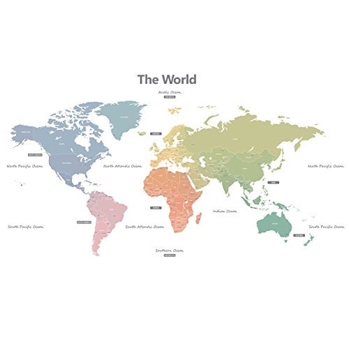 Decowall DMT-1809S Modern Pastel Tones World Map Kids Wall Stickers Wall Decals Peel and Stick Removable Wall Stickers for Kids Nursery Bedroom Living Room ()