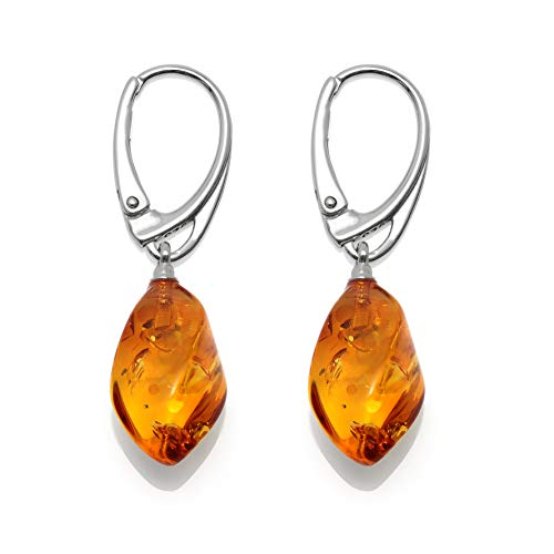 Drop Honey Amber Dangle Earrings for Women - 925 Sterling Silver - Genuine Baltic Amber - Hypoallergenic