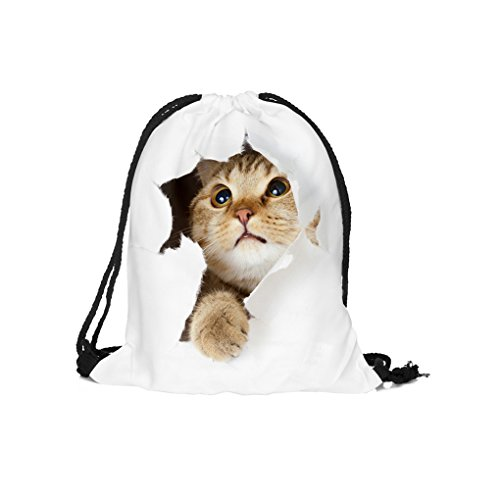 Drawstring Backpack,C.A.Z Vivid 3D Cat Digital Print Shoulder Drawstring Bag Backpack String Bags School Rucksack Gym Handbag Dance Bag Teen Yoga Sport Casual (Simple Halloween Makeup Tumblr)