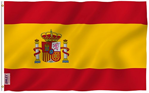 Anley Fly Breeze 3x5 Foot Spain Flag - Vivid Color and UV Fade Resistant - Canvas Header and Double Stitched - Spainish National Flags Polyester with Brass Grommets 3 X 5 Ft (Spain Flag National)