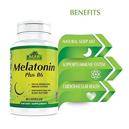 Amazon.com: Melatonin Plus B-6 Supplement with 5MG by ALFA VITAMINS - Sleep Cycle Regulator - Cardiovascular Health - Immune System - 60 Capsules: Health ...
