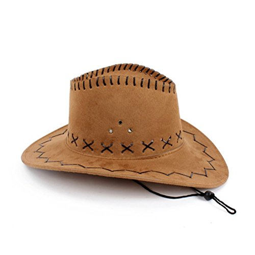 - HMILYDYK Cowboy Hat Brown Fancy Dress Accessory Deluxe Suede Wild Brim Hats