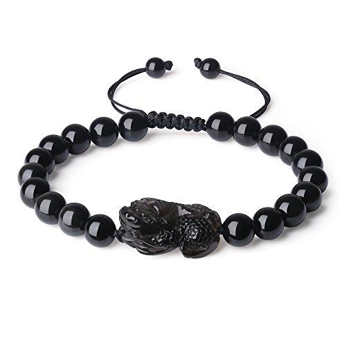 - COAI Shamballa Inspired Pixiu Black Obsidian Stone Bracelet
