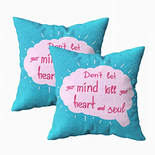Capsceoll Soft Pillow Covers, Dont Let Mind Kill Heart and Soul Motivational Calligraphy Graphic 18x18 Pillow Covers,Home Decoration Pillow Cases Zippered Covers Cushion for Sofa Couch