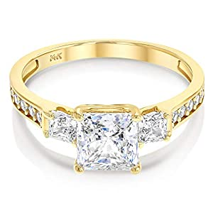 Ioka – 14k Solid Yellow OR White Gold 1.5 Ct. Cubic Zirconia CZ 3 Stone Princess Cut Engagement Ring Band