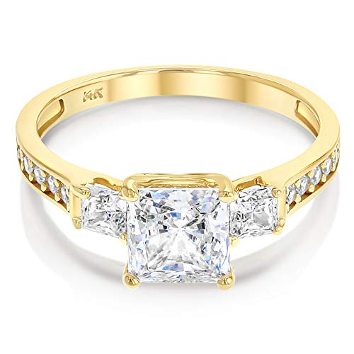 Ioka - 1.5 Ct. Cubic Zirconia CZ 3 Stone Princess Cut Engagement Ring Solid 14K Yellow Gold With Stones in Band - Size 5 - Size 5 ()