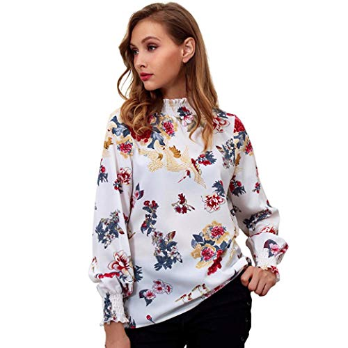 Women Vintage Floral Ruffle Turtleneck Blouse Long Sleeve Casual Shirt Loose Top(White,X-Large)