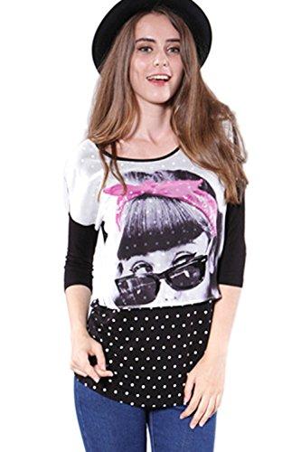 Empalme impresa camiseta blusa Top Yacun mujeres