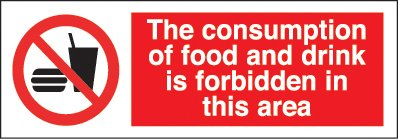 El consumo de comida y bebida está prohibido 1 mm PVC señal ...