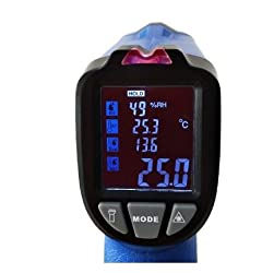 MeterTo Dew Point Infrared Thermometer, Audible/Visuable Alarm, Wet Bulb Temp, IR: -50~550? / -58~1022?, K-Type Temperature: -50~850? / -58~1562?, 13:1