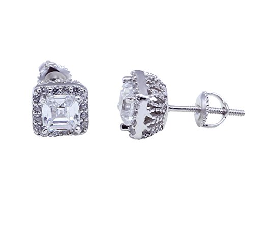 Halo Bridal Wedding Stud Earrings Asscher Cut Round Cubic Zirconia 925 Sterling Silver Choose Backing