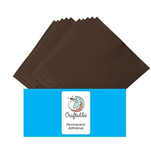 Craftables Brown Vinyl Sheets - Permanent, Adhesive, Glossy & Waterproof | (10) 12