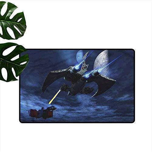 - HOMEDD Crystal Velvet Doormat,Galaxy Spaceship Laser Beam,Super Absorbs Mud,35