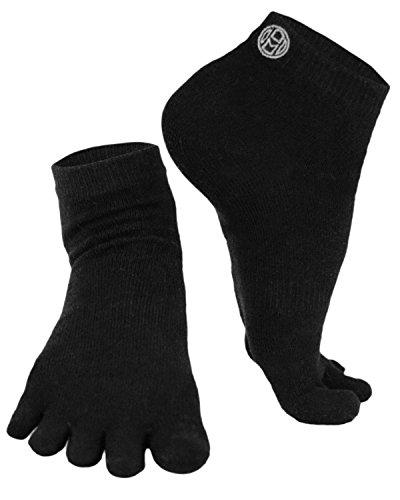 Mato & Hash 5 Toe Active Athletic Performance Sport Toe Socks 3 PK Black S/M