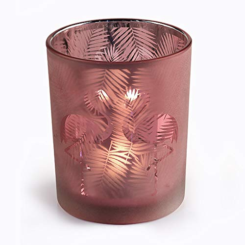 Outdoor Swimming Pool Party Decor Votive Candle Holders, Pink Flamingo Flower Pot Votive Candle Holder, 4.9