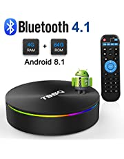 Android 8.1 TV Box, Android Box 4GB RAM 64GB ROM Amlogic S905X2 Quad-core Cortex-A53 Support 2.4G/5G WiFi/H.265 Decoding/4K Full HD Output/1000M Ethernet/ Bluetooth 4.1 Smart TV Box
