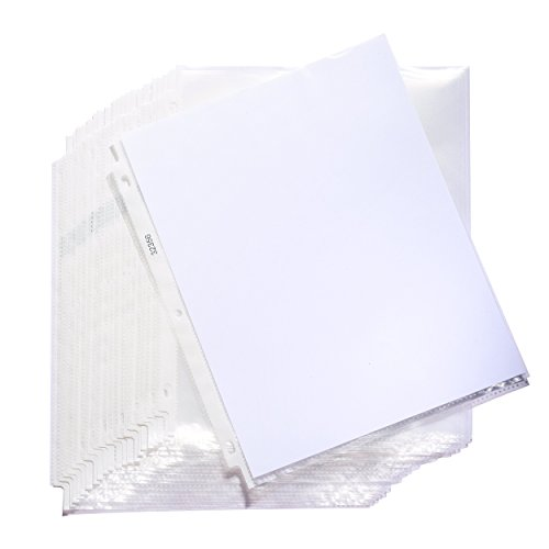 (Sheet Protectors, Non-Glare, Top Loading Plastic Binder Sheet Protectors - Reinforced 3 Hole Design - 2.4 MIL Thickness - Keep Your Important Papers and Documents Safe - 9 x 11 Inch - 50-Pack)