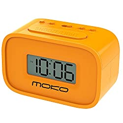 MoKo Digital Alarm Clock, Wake Up Alarm Table Bedside Mini Clock LCD Display Battery Powered Small Clock with Snooze Function/Backlight for Kids Bedroom - Orange