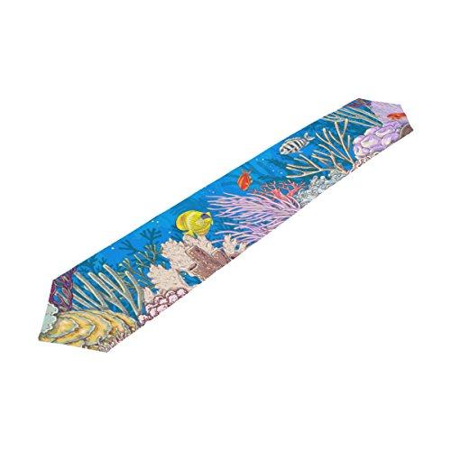 ALAZA U LIFE Tropical Ocean Sea World Fish Coral Aquatic Decorative Table Runners Cloth 13 x 70 or 13 x 90 Inches