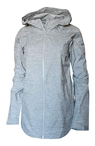 Columbia Women's Whisper Ridge Printed Omni tech Waterproof Rain Jacket (Light Grey, ()