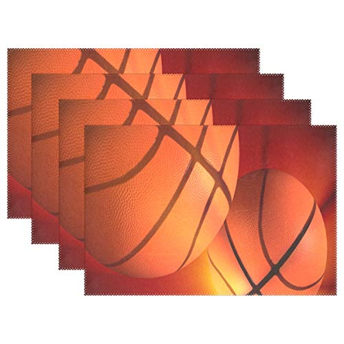 Heat Resistant Placemats for Kitchen Table Mats for Dinning Room,Basketball On Pinterest Washable Insulation Non Slip Placemat 12x18 inch 6pcs ()