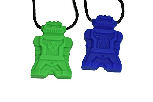 chubuddy Chewable Robotz Pendant Chewies, Green & Blue Set of (2), Non-Toxic Material, With Breakaway Safety Clasp Necklace - Clasp Material