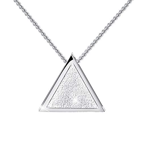 Lotus Fun S925 Sterling Silver Necklaces Geometric Triangle Design Pendant with Link Chain Length 17inches, Handmade Jewelry for Women and Girls (B. Silver)