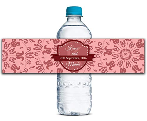 CARAPOLLY Custom Water Bottle Labels, Personalized Water Bottle Stickers, Wedding Water Bottle Labels, Wedding Invites Labels, Party Decor WBL161P]()