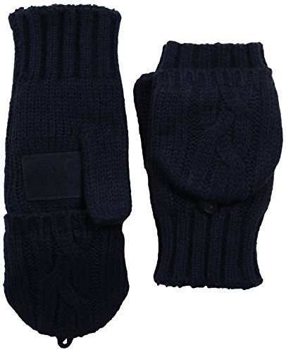 Convertible Flip Gloves Mittens (Isotoner Women's Sherpasoft Chunky Solid Cable Flip Top Mitten with Suede Palm Patch, Navy, One)
