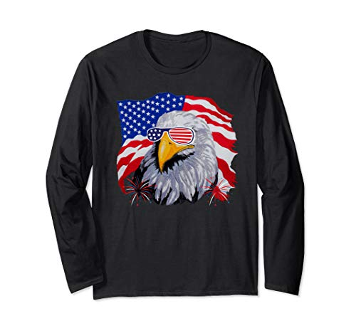 Patriotic Eagle T-Shirt 4th of July USA American Flag Tshirt Long Sleeve T-Shirt