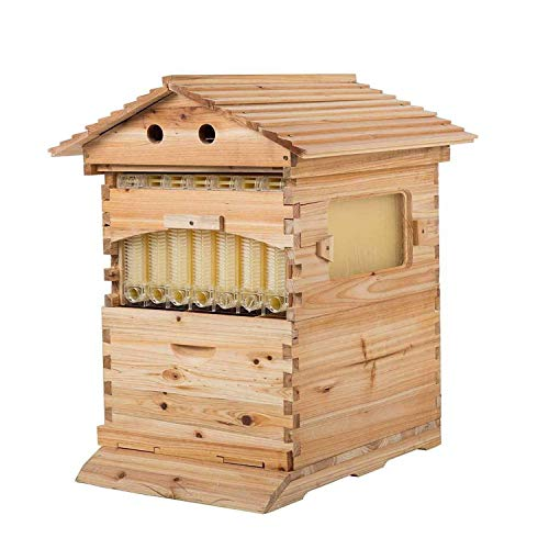 Beekeeping Wooden House Beehive Boxes - 7Pcs Auto Flow Beehive Frame Comb - 2-Layer Bee Hive Boxes - for Beekeepers Food Grade BPA Free