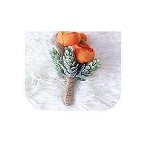 loveinfinite DIY Bride Boutonnieres Corsages Hand Flores Silk Wrist Flower Yellow Wedding Bouquet for Bridesmaid Decor Pin Rose Wrist Flowers,3 99