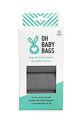 Oh Baby Bags Bulk Refill Box - Recycled Scented Disposable Plastic Bags for Dirty Diapers and Other Messes - Refills Only - 8 Rolls, 96 Bags Total - Gray Unscented