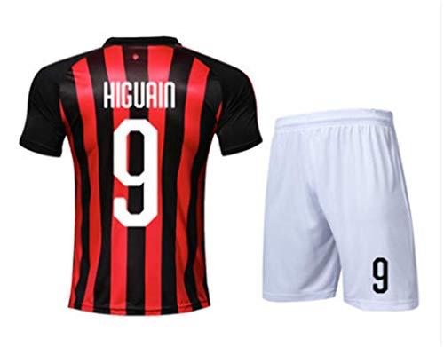 LISIMKE Soccer Team 2018/19 Ac Milan Home Gonzalo Higuain 9 Mens Replica&Shorts Kid Youth Replica Jersey Kit (7-8Years/size22)