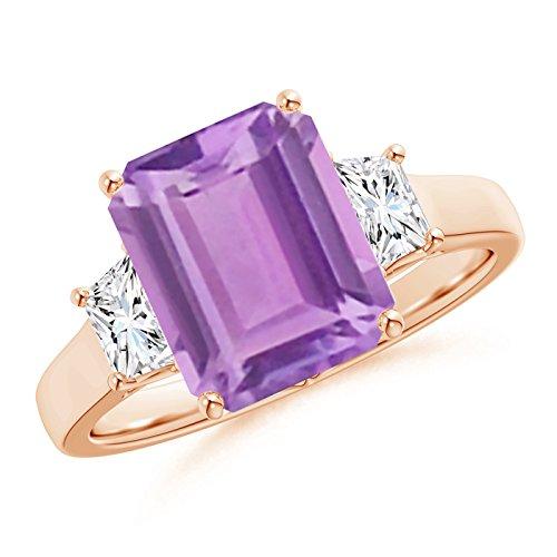 Angara Emerald-Cut Amethyst and Trapezoid Diamond Three Stone Ring Rose Gold mR3oLFgt