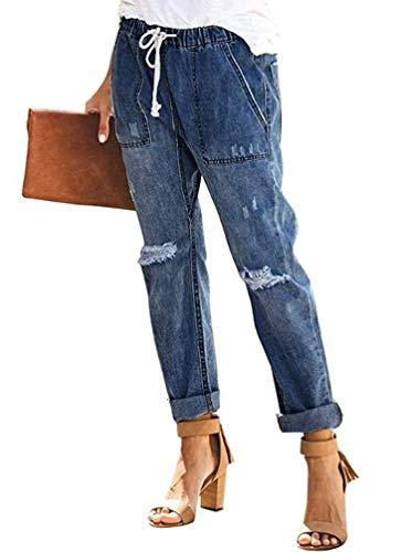 Sidefeel Women Distressed Pockets Denim Joggers Elastic Drawstring Waist Jeans Pants Small Blue