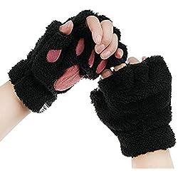 Cat Paw Claw Fingerless Faux Fur Winter Plush Gloves Halloween for Women Girls