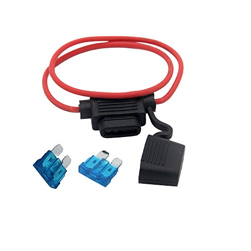 - ZOOKOTO Inline Fuse Holder, ATC/ATO 16 AWG Gauge Copper Wire Car Auto Blade Fuse Waterproof with Two 15 AMP Fuses